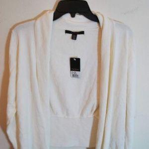Ivory White Open Front Cardigan Rib Knit Shawl S